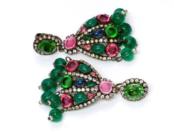 Kenneth Jay Lane KJL 1960's Mughal Style Glass Earrings 1