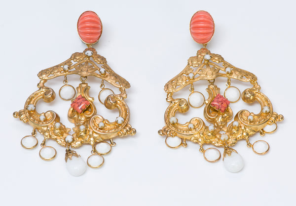 Kenneth Jay Lane KJL Gold Tone Faux Coral Chandelier Earrings