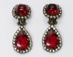 Vintage Kenneth Jay Lane KJL Red Crystal Earrings