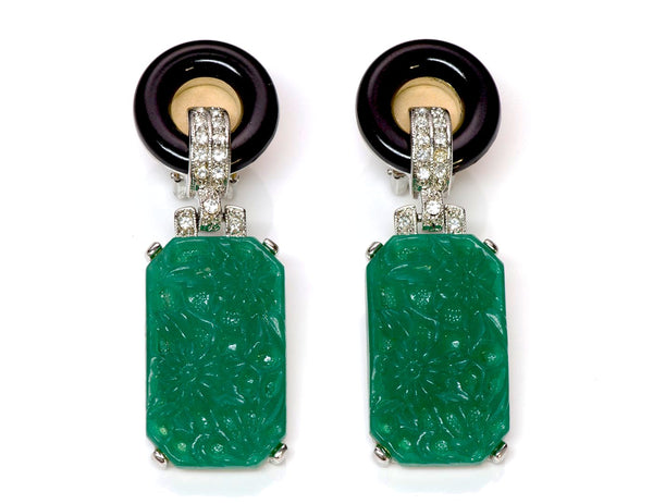 Kenneth Jay Lane KJL Faux Jade Art Deco Style Earrings