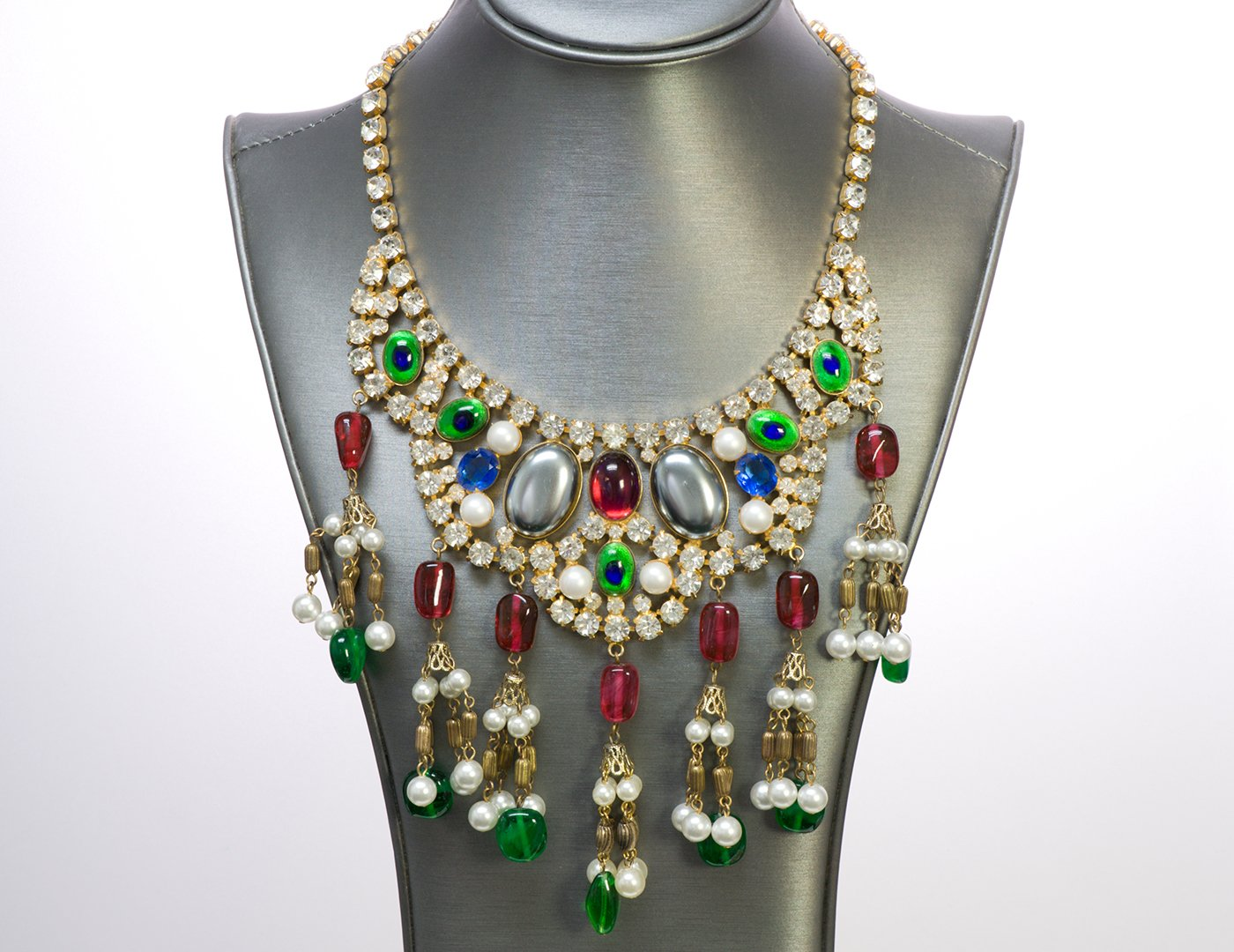 Kenneth Jay Lane KJL 1990's Green Red Glass Crystal Tassel Necklace