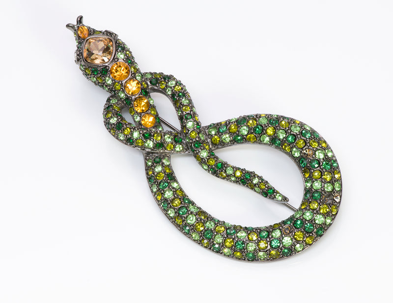 Kenneth Jay Lane KJL Green Crystal Snake Brooch1