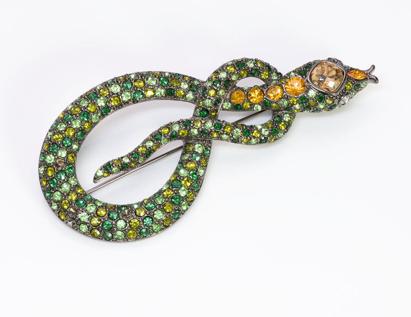 Kenneth Jay Lane KJL Green Crystal Snake Brooch