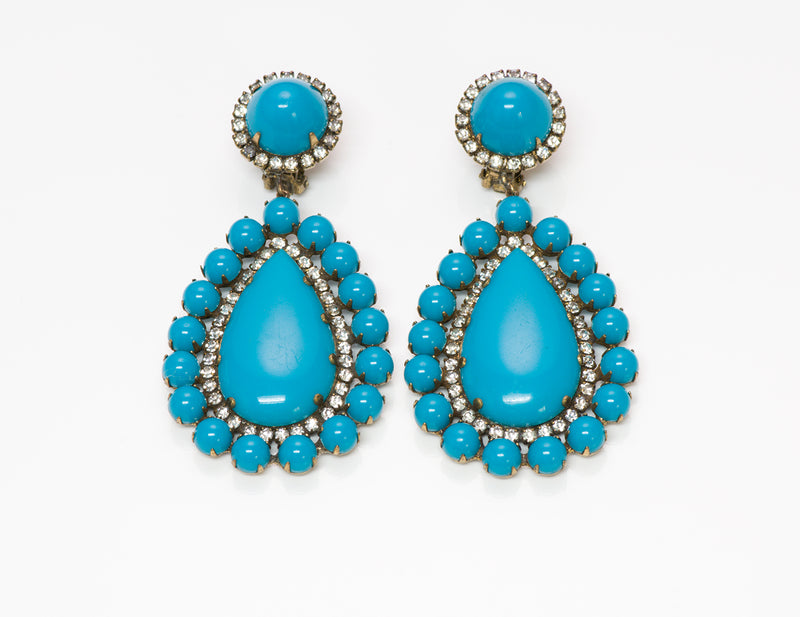 Kenneth Jay Lane KJL 1960's Turquoise Crystal Earrings