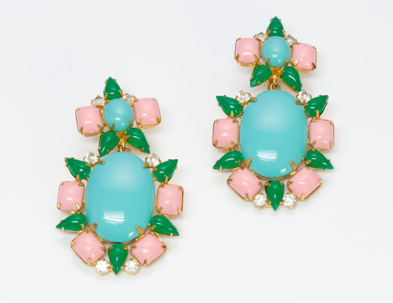 Vintage Kenneth Jay Lane KJL Turquoise Crystal Earrings