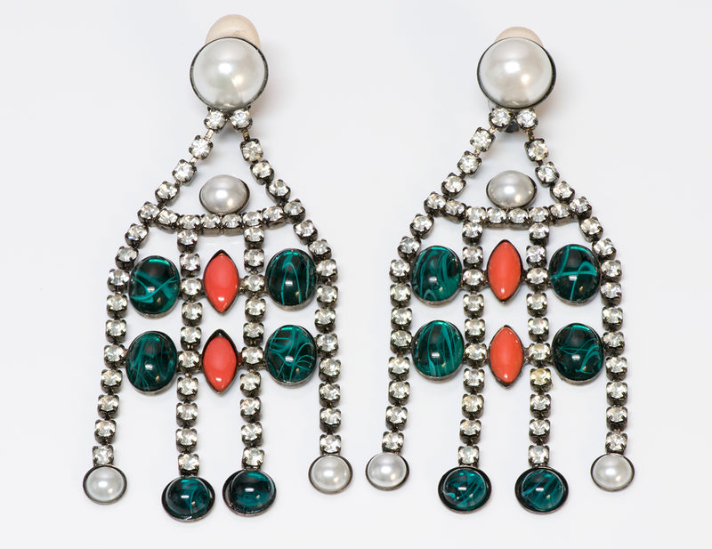 Kenneth Jay Lane Pearl Green Orange Glass Chandelier Earrings