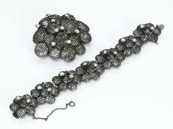 KRAMER New York Mesh Net Crystal Bracelet Brooch Set