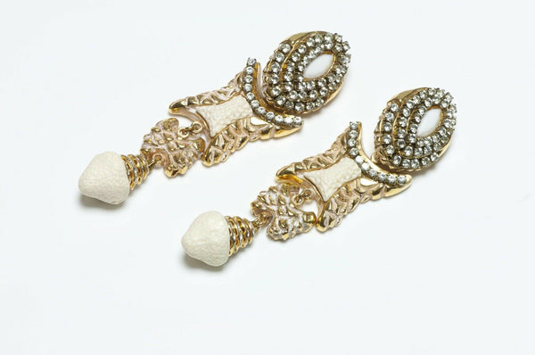 Kalinger Paris 1980's White Long Crystal Earrings