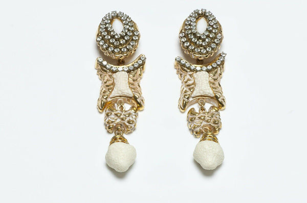 Kalinger Paris 1980's Long Crystal Earrings