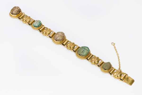 Kalo Egyptian Revival Gold Scarab Bracelet