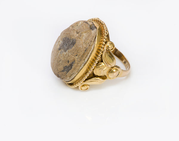 Kalo Shop Egyptian Revival 14K Gold Scarab Ring