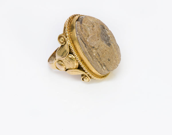 Kalo Shop Antique Egyptian Revival 14K Gold Scarab Ring