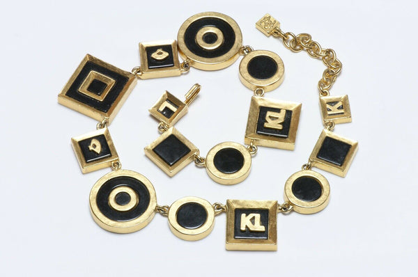 Karl Lagerfeld Paris Black Enamel Logo Fan Necklace
