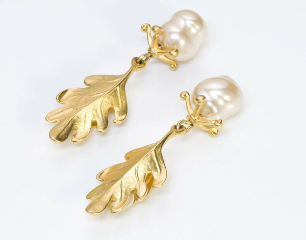 Karl Lagerfeld Paris Oak Leaf Baroque Pearl Earrings