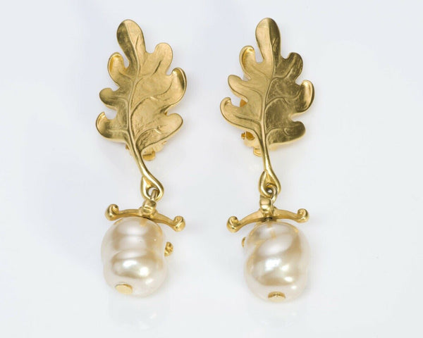 Karl Lagerfeld Oak Leaf Baroque Pearl Earrings