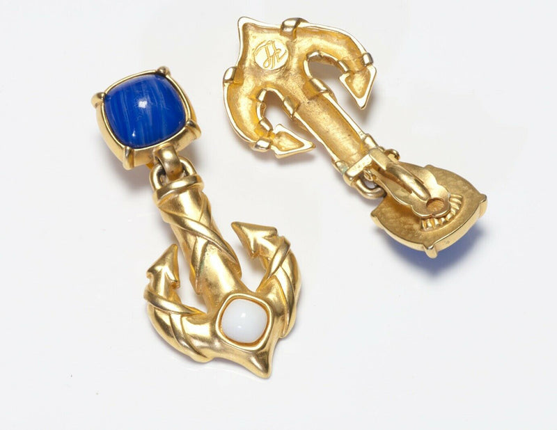 Karl Lagerfeld Paris Long Blue Glass Anchor Earrings