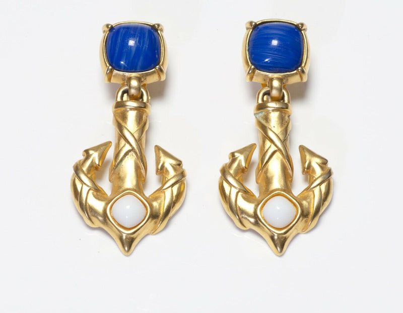 Karl Lagerfeld Paris Long Blue White Glass Anchor Earrings