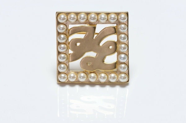 Karl Lagerfeld Paris Gold Plated Pearl Logo Square Brooch
