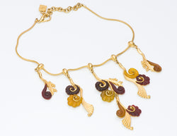 Karl Lagerfeld Gold Tone Poured Glass Swirl Necklace