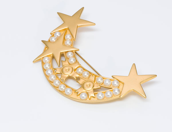 Karl Lagerfeld Pearl Moon Star Brooch