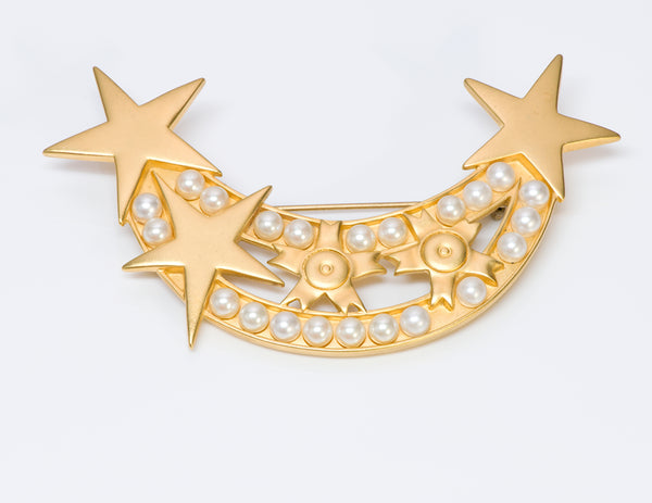 Karl Lagerfeld Gold Tone Pearl Moon Star Brooch