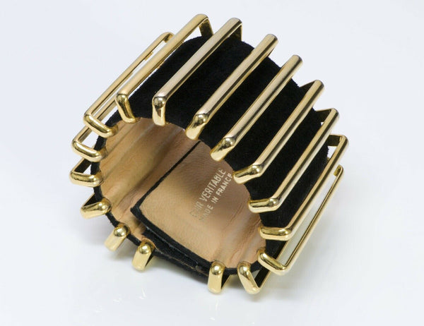 Karl Lagerfeld Couture Black Suede Accordion Cuff Bracelet