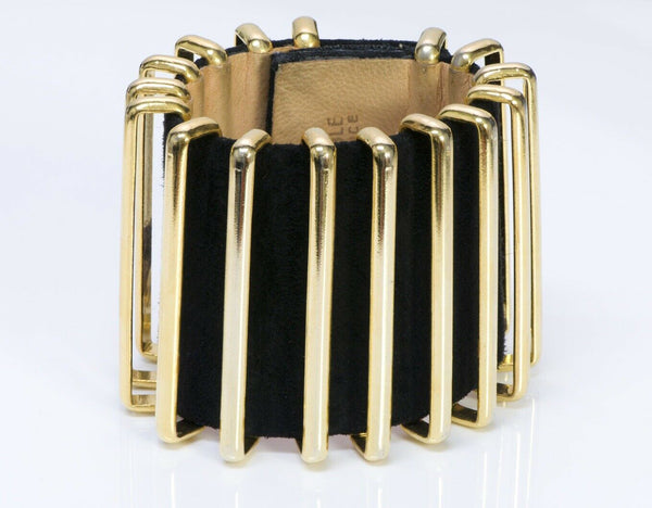 Karl Lagerfeld Couture Wide Black Suede Accordion Cuff Bracelet