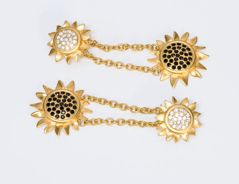 Karl Lagerfeld Gold Tone Crystal Sunflower Earrings 1