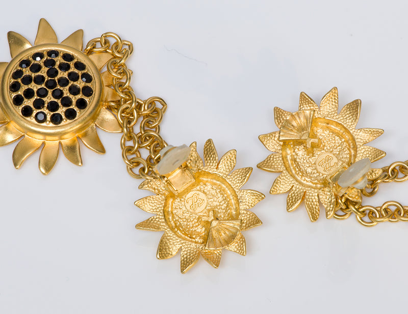 Karl Lagerfeld Gold Tone Crystal Sunflower Earrings 3