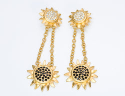 Karl Lagerfeld Gold Tone Crystal Sunflower Earrings