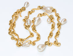 Karl Lagerfeld Gold Tone Faux Baroque Pearl Necklace