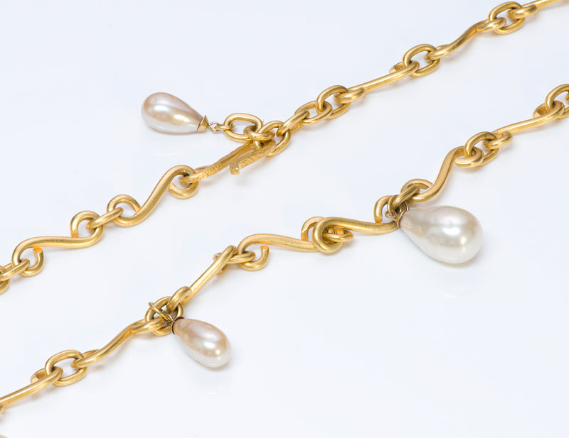 Karl Lagerfeld Gold Tone Faux Baroque Pearl Necklace 1