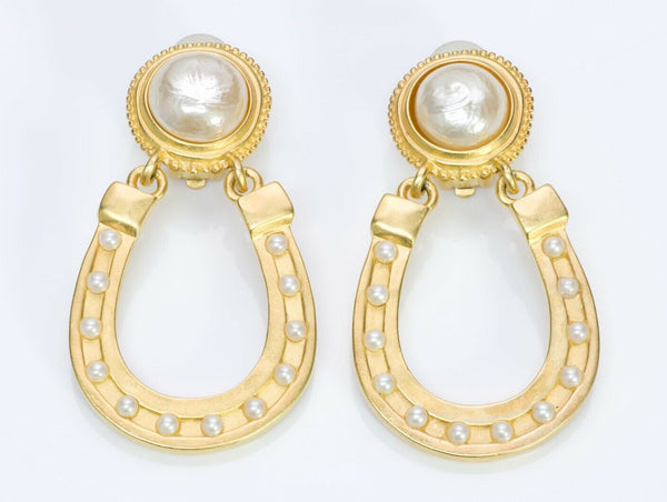 Karl Lagerfeld Paris Pearl Horseshoe Earrings