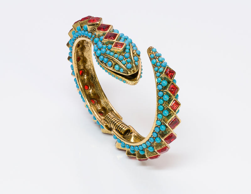 Kenneth Jay Lane KJL Turquoise Snake Bangle Bracelet