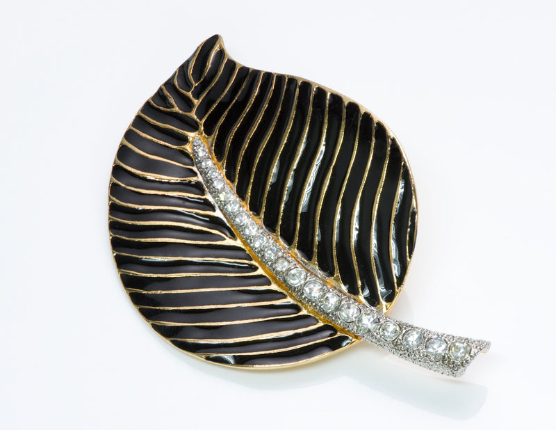 Kenneth Jay Lane Enamel Crystal Leaf Brooch
