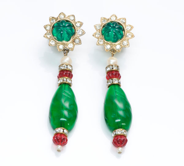 Kenneth Jay Lane Faux Emerald Crystal Earrings