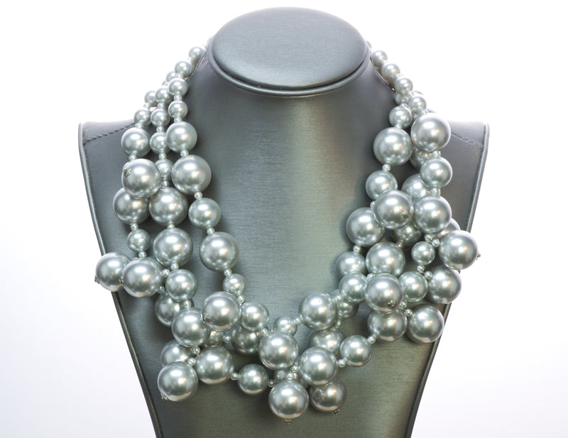 Kenneth Jay Lane Silver Tone Bead Necklace