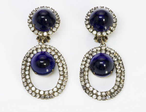 Kenneth Jay Lane KJL 1960's Blue Crystal  Earrings