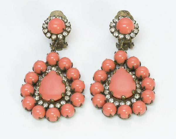 Kenneth Jay Lane KJL 1960's Faux Coral Crystal Drop Earrings