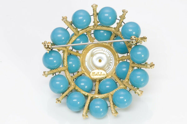 Kenneth Jay Lane KJL Faux Turquoise Pearl Dome Brooch