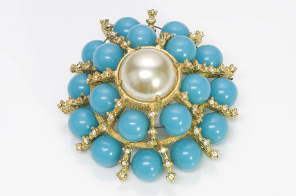 Kenneth Jay Lane KJL 1960's Faux Turquoise Pearl Dome Brooch
