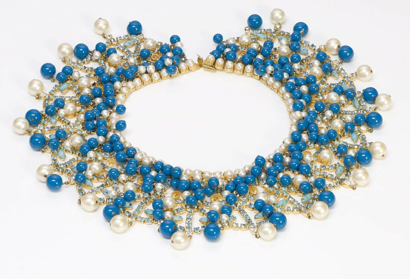 Kenneth Jay Lane KJL Pearl Blue Glass Beads Collar Necklace