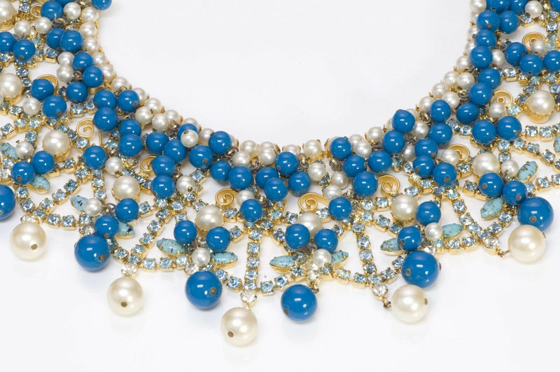 Kenneth Jay Lane KJL 1960's Pearl Blue Glass Beads Collar Necklace