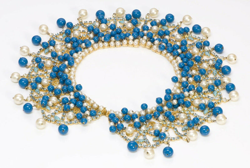 Kenneth Jay Lane KJL 1960 Pearl Beads Collar Necklace