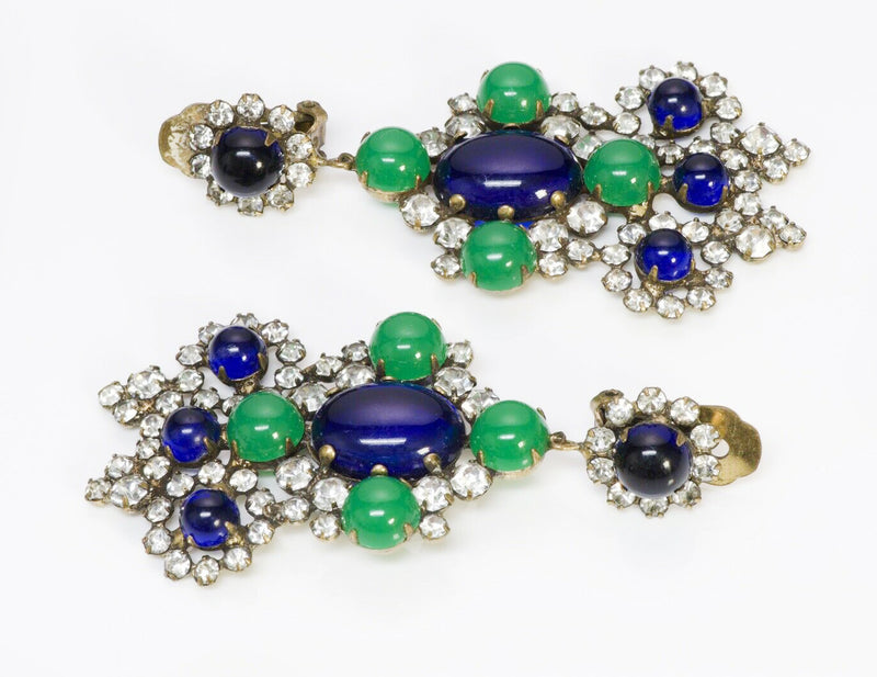 Kenneth Jay Lane KJL Crystal Chandelier Earrings Blue