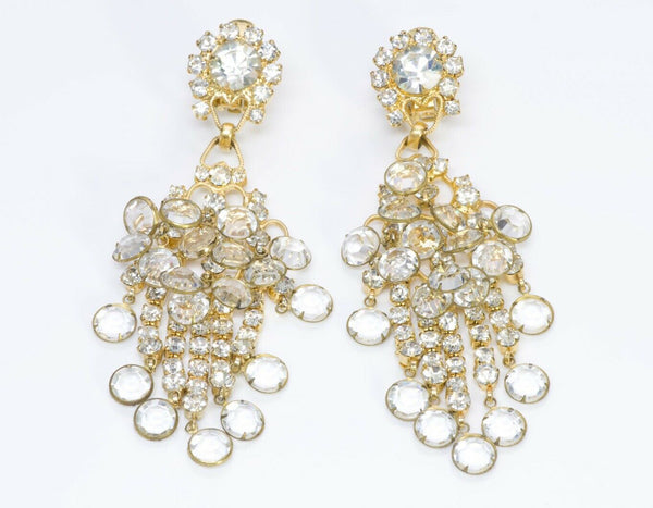 Kenneth Jay Lane KJL 1960's Crystal Chandelier Earrings