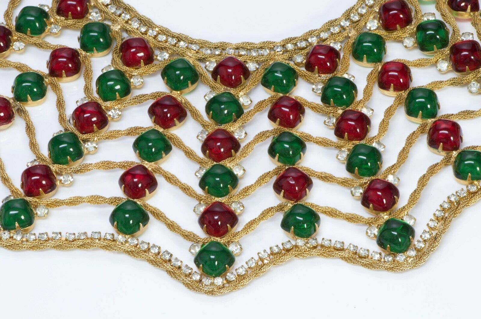 Kenneth Jay Lane KJL 1960's Spider Web Green Red Cabochon Glass Collar Necklace