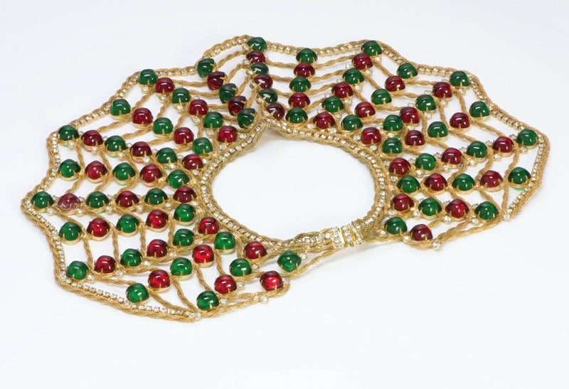 Kenneth Jay Lane KJL 1960's Spider Web Cabochon Glass Collar Necklace