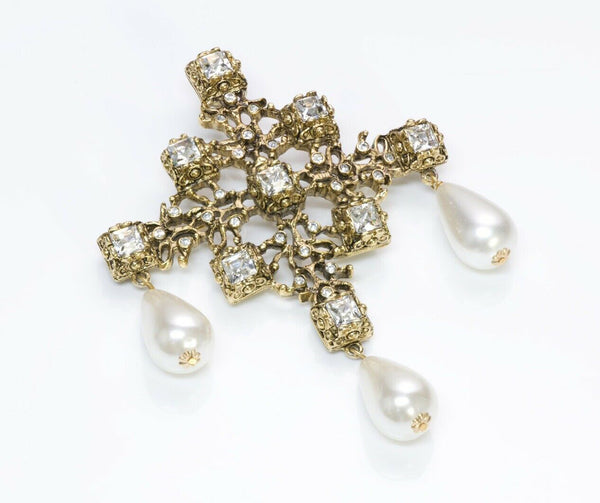 Kenneth Jay Lane KJL Crystal Pearl Drops Cross Pendant