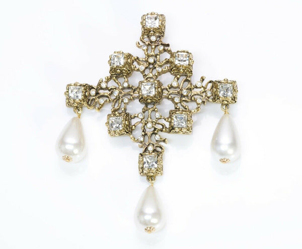 Kenneth Jay Lane KJL Crystal Pearl Drops Cross Pendant Brooch